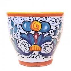 Tazzina Caffè Bar ceramica maiolica Deruta dipinta a mano decoro Ricco Deruta giallo CC 80