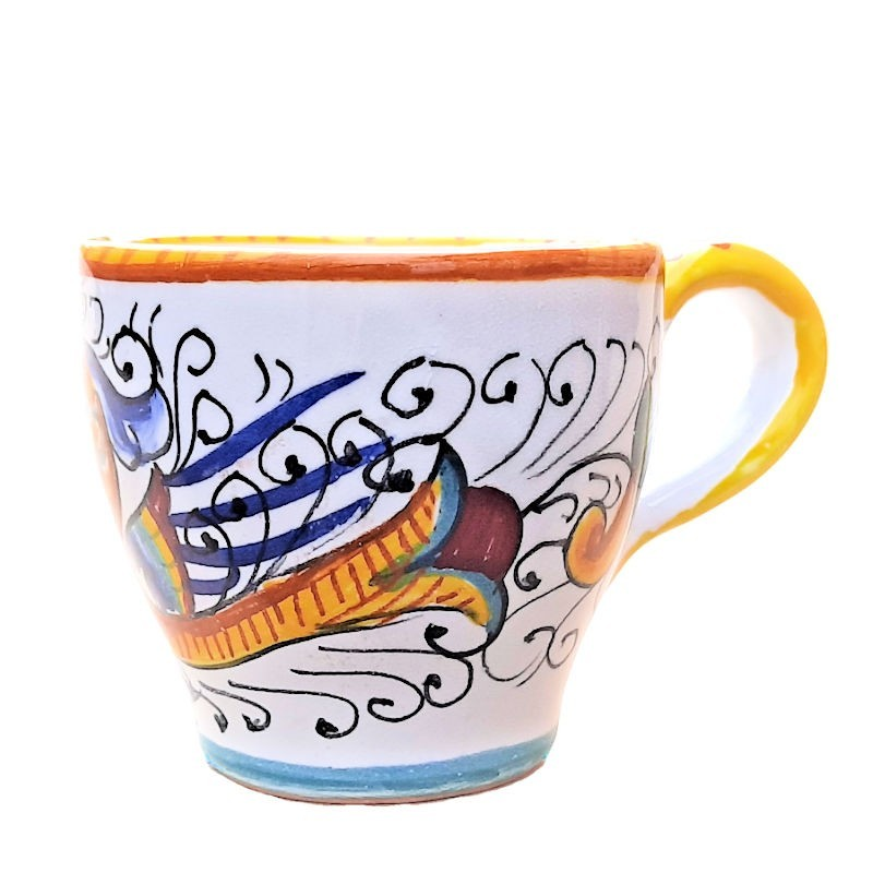 Tazzina Caffè Bar ceramica maiolica Deruta dipinta a mano decoro Raffaellesco CC 80