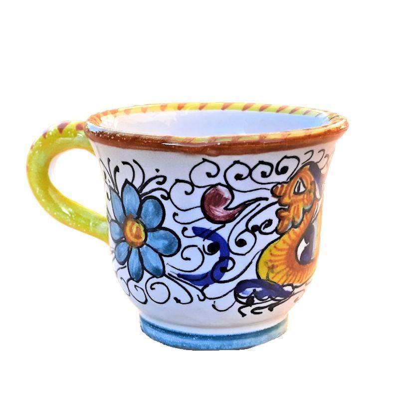 Tazzina caffè ceramica maiolica Deruta dipinta a mano decoro Raffaellesco CC 80