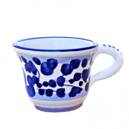 Tazzina caffè ceramica maiolica Deruta dipinta a mano decoro Arabesco blu CC 80
