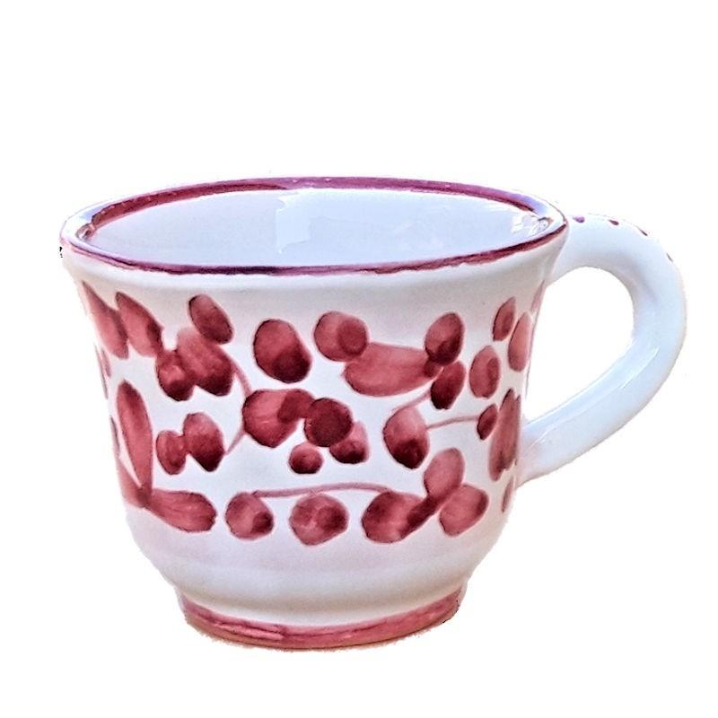 Tazzina caffè ceramica maiolica Deruta dipinta a mano decoro Arabesco rosso CC 80