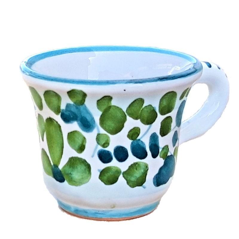 Tazzina caffè ceramica maiolica Deruta dipinta a mano decoro Arabesco verde CC 80