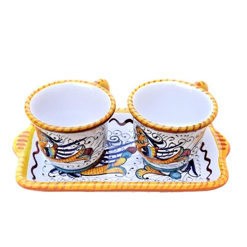 Servizio Caffè ceramica maiolica Deruta dipinto a mano con 2 tazze e vassoio decoro Raffaellesco