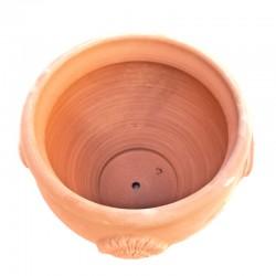 Fioriera tonda terracotta con manici e rosoni lavorata a mano