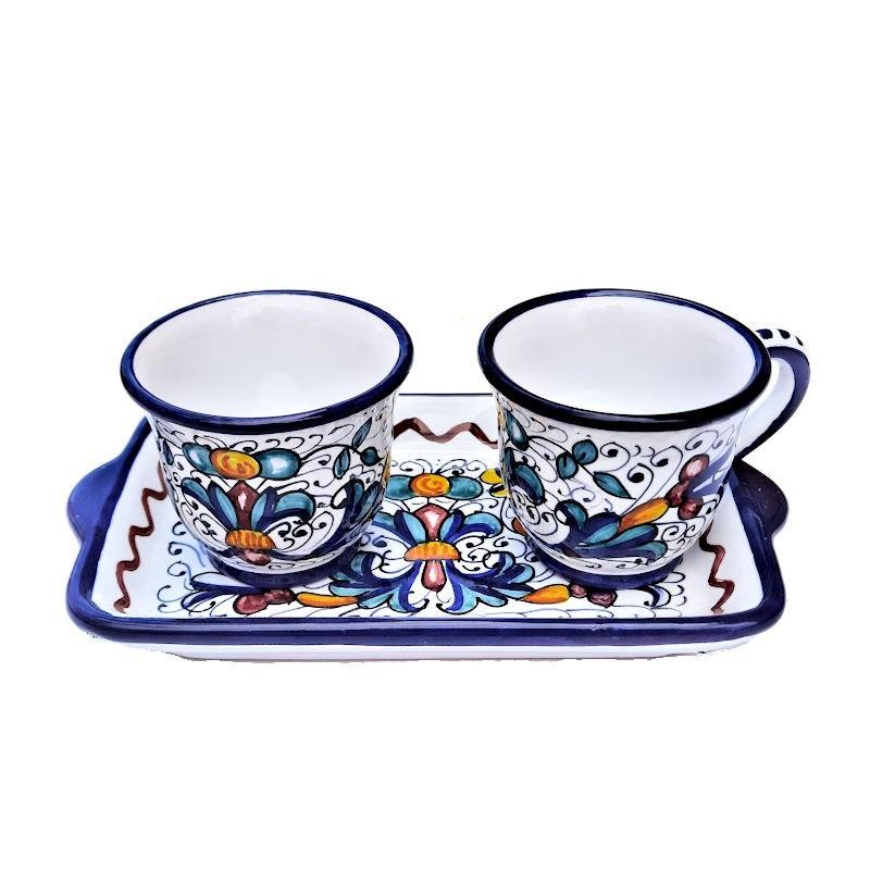 Servizio Caffè ceramica maiolica Deruta dipinto a mano con 2 tazze e vassoio decoro Ricco Deruta blu