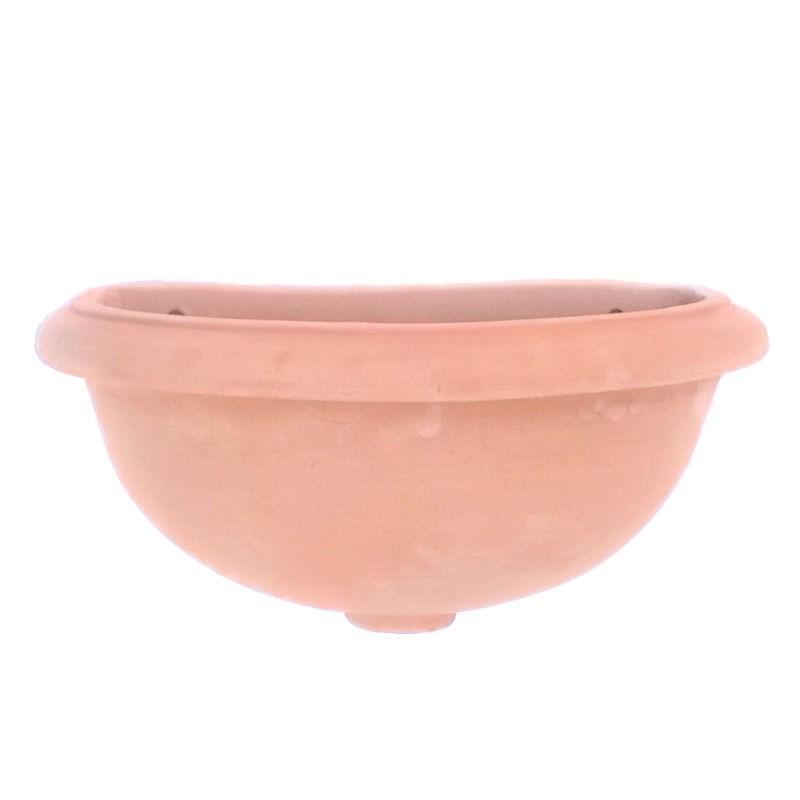 Vasca fontana terracotta da parete lavorata a mano liscia