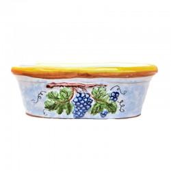 Piccolo vaso ovale ceramica maiolica Deruta per piante grasse aromatiche decoro grappolo uva