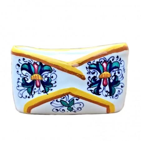 Portabiglietti ceramica maiolica Deruta dipinto a mano decoro Ricco Deruta giallo da tavolo