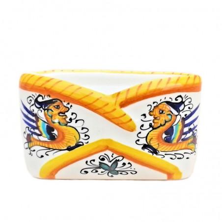 Portabiglietti ceramica maiolica Deruta dipinto a mano decoro Raffaellesco da tavolo