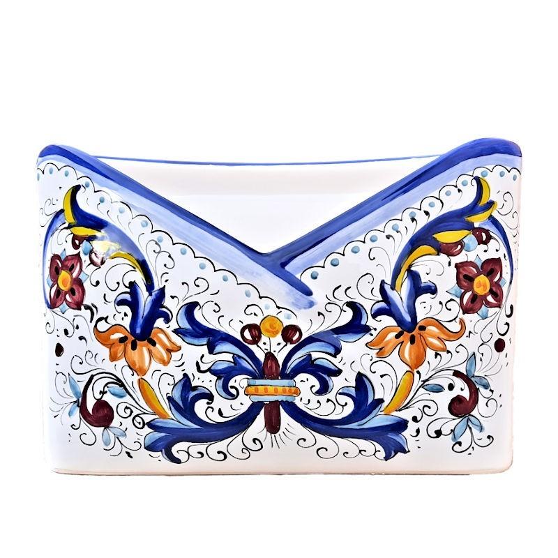 Portalettere ceramica maiolica Deruta dipinto a mano decoro Ricco Deruta blu da tavolo