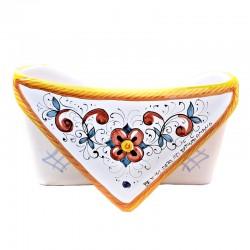 Portalettere ceramica maiolica Deruta dipinto a mano decoro Raffaellesco da tavolo