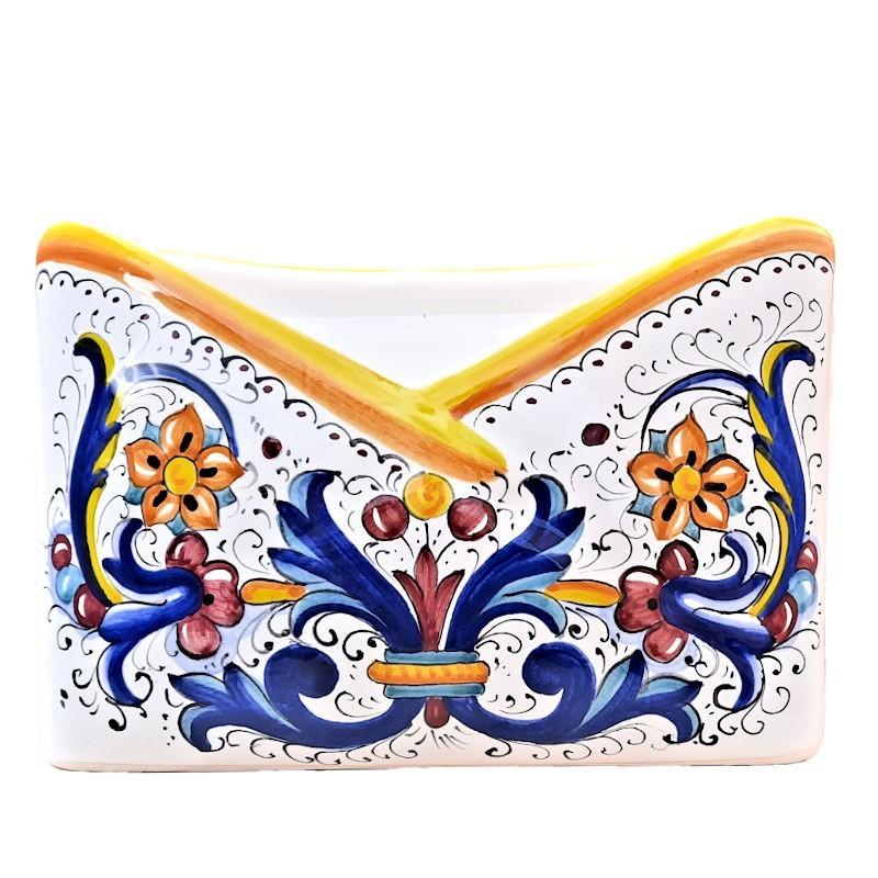Portalettere ceramica maiolica Deruta dipinto a mano decoro Ricco Deruta giallo da tavolo