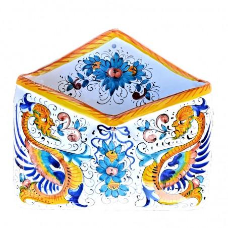Portalettere ceramica maiolica Deruta dipinto a mano decoro Raffaellesco da parete