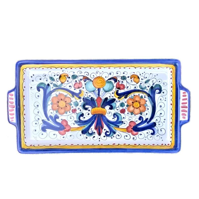 Vassoio ceramica maiolica Deruta dipinto a mano rettangolare decoro Ricco Deruta blu