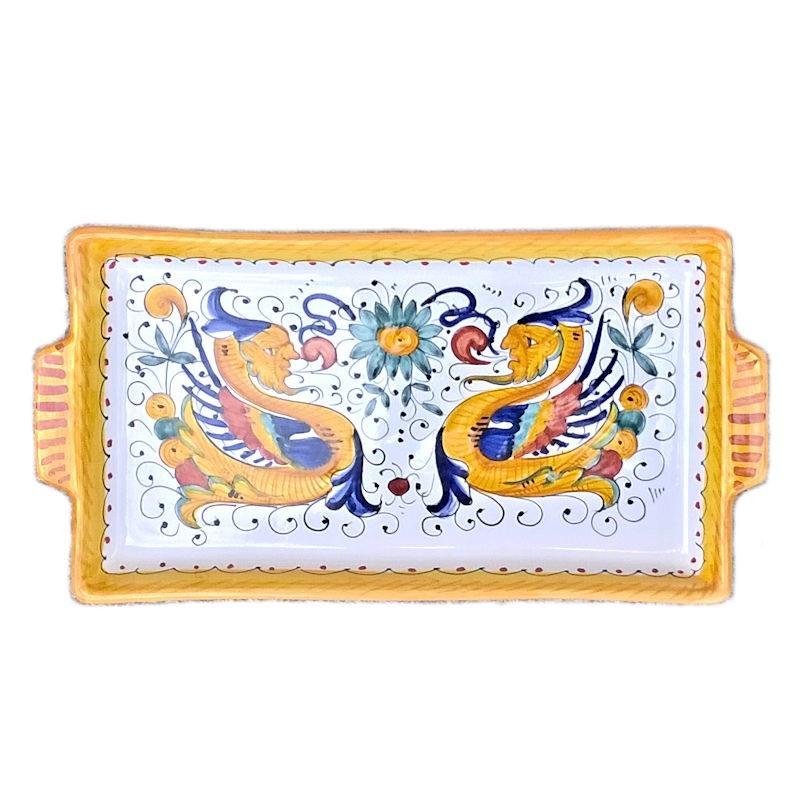 Vassoio ceramica maiolica Deruta dipinto a mano rettangolare decoro Raffaellesco