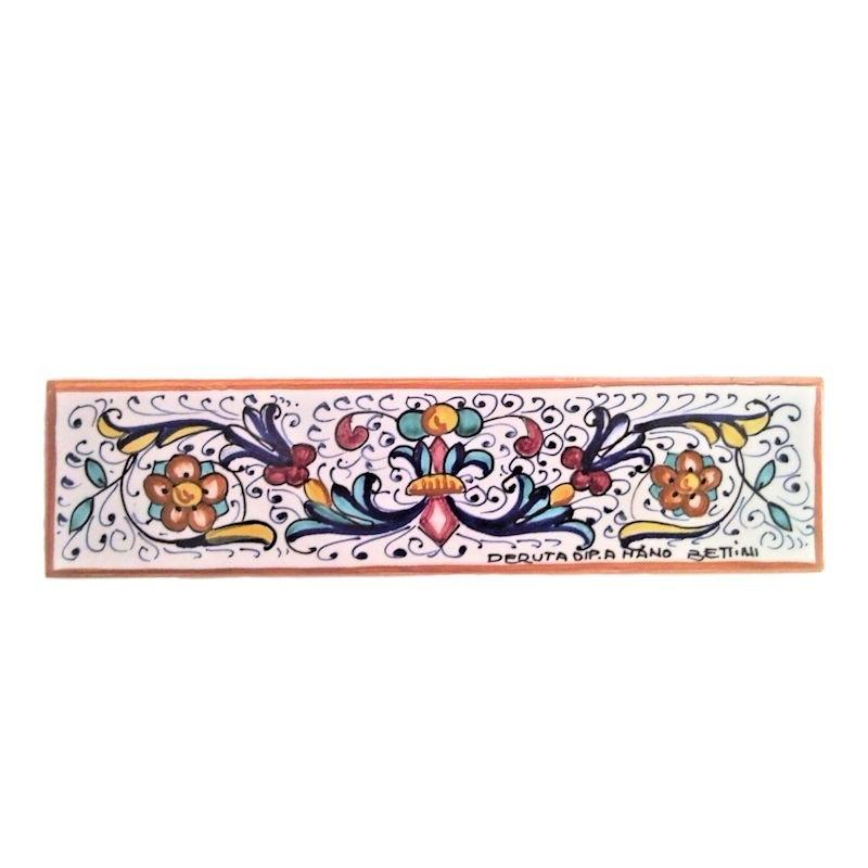 Mattonella listello ceramica maiolica Deruta dipinta a mano decoro ricco Deruta giallo rettangolare
