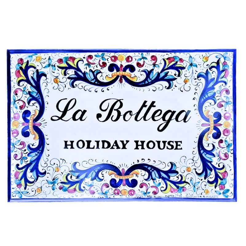 Mattonella ceramica maiolica Deruta dipinta a mano con nome decoro ricco Deruta blu 30 x 20
