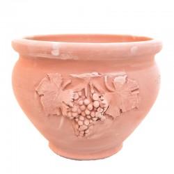 Fioriera tonda terracotta con grappolo uva lavorata a mano