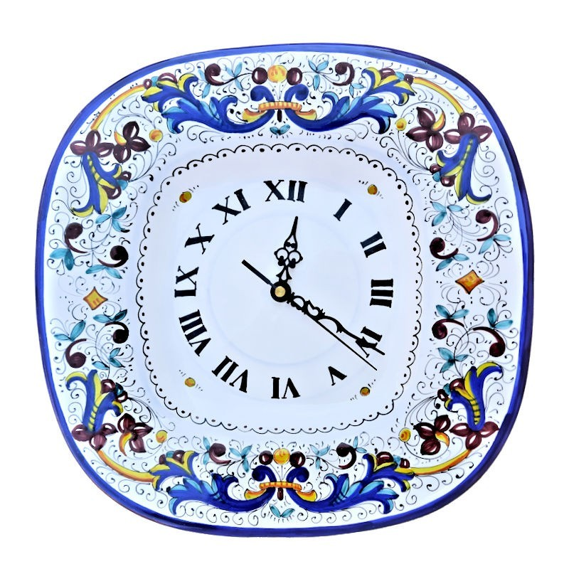 Orologio ceramica maiolica Deruta da parete dipinto a mano decoro Ricco Deruta Blu quadrato