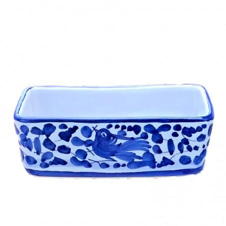 Porta bustine zucchero o tè ceramica maiolica Deruta dipinto a mano decoro arabesco blu