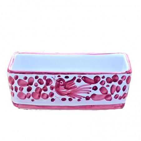 Sugar or tea bag holder Deruta majolica ceramic hand painted with red Arabesque decoration