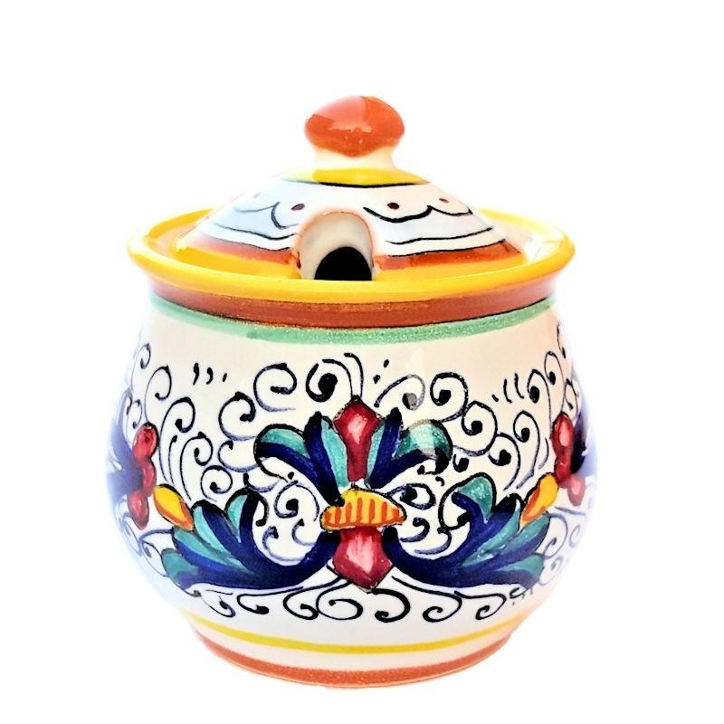 Zuccheriera ceramica maiolica Deruta dipinta a mano decoro Ricco Deruta Giallo