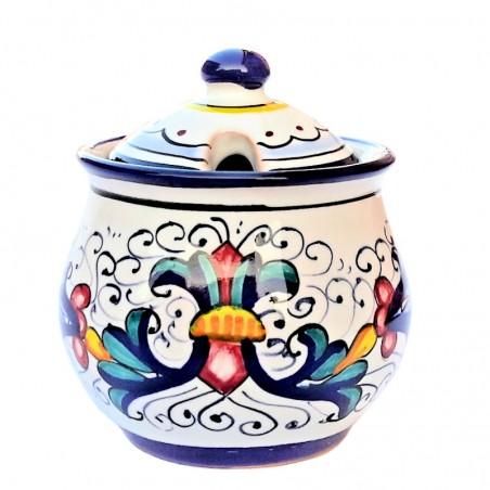 Zuccheriera ceramica maiolica Deruta dipinta a mano decoro Ricco Deruta blu