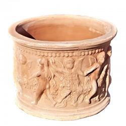 Vaso cilindrico in Terracotta con putti lavorato a mano Cm. 40
