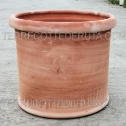 Vaso cilindrico in Terracotta liscio lavorato a mano