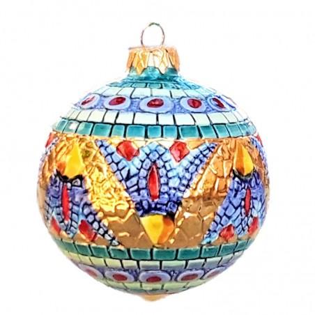 Palla di Natale ceramica maiolica Deruta dipinta a mano decoro oro 2