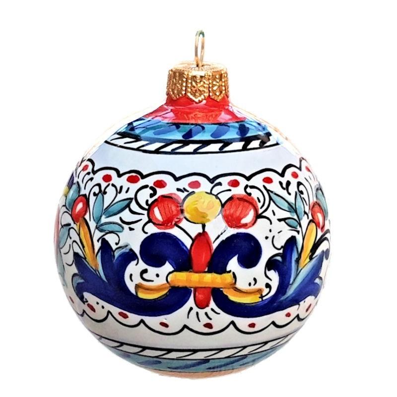 Palla di Natale ceramica maiolica Deruta dipinta a mano decoro Ricco Deruta blu rosso