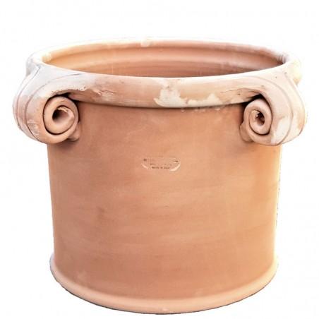 Vaso cilindrico in Terracotta con 4 riccioli forati lavorato a mano