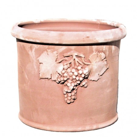 Cylindrical vase in Terracotta with grapes hand made