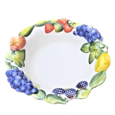 Bolo Insalatiera ceramica Made in Italy dipinto a mano decoro frutta rilievo