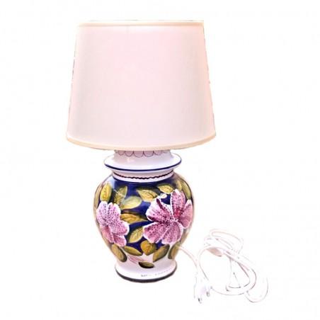Lampada ceramica maiolica Deruta dipinta a mano decoro lilium Blu