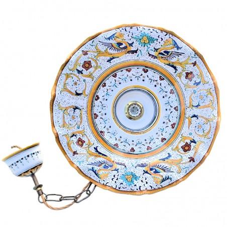Lampadario ceramica maiolica Deruta dipinto a mano decoro Raffaellesco ondulato