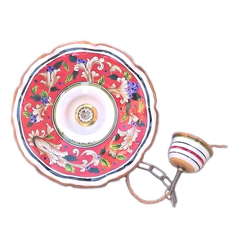Lampadario ceramica maiolica Deruta dipinto a mano decoro Rosso artistico ondulato