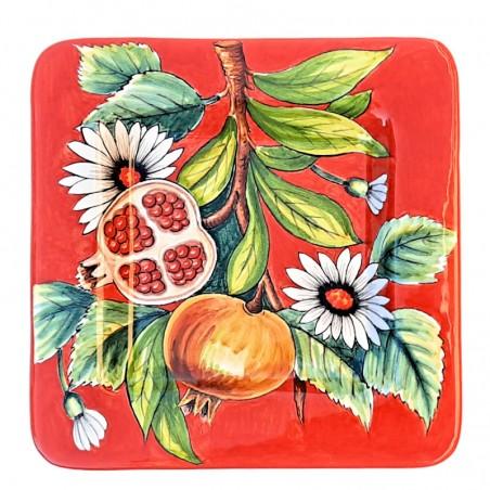 Piatto vassoio ceramica maiolica Deruta dipinto a mano quadrato decoro melegrane
