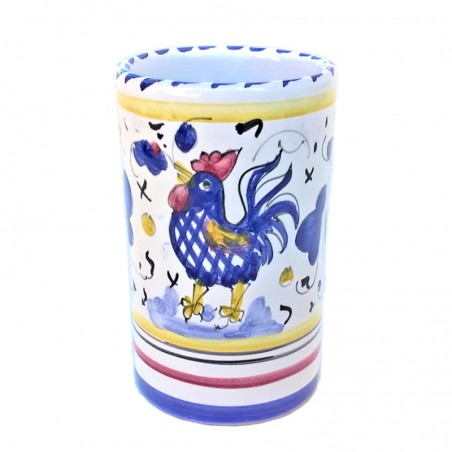 Pen holders Deruta majolica hand painted with blue rooster Orvieto decoration