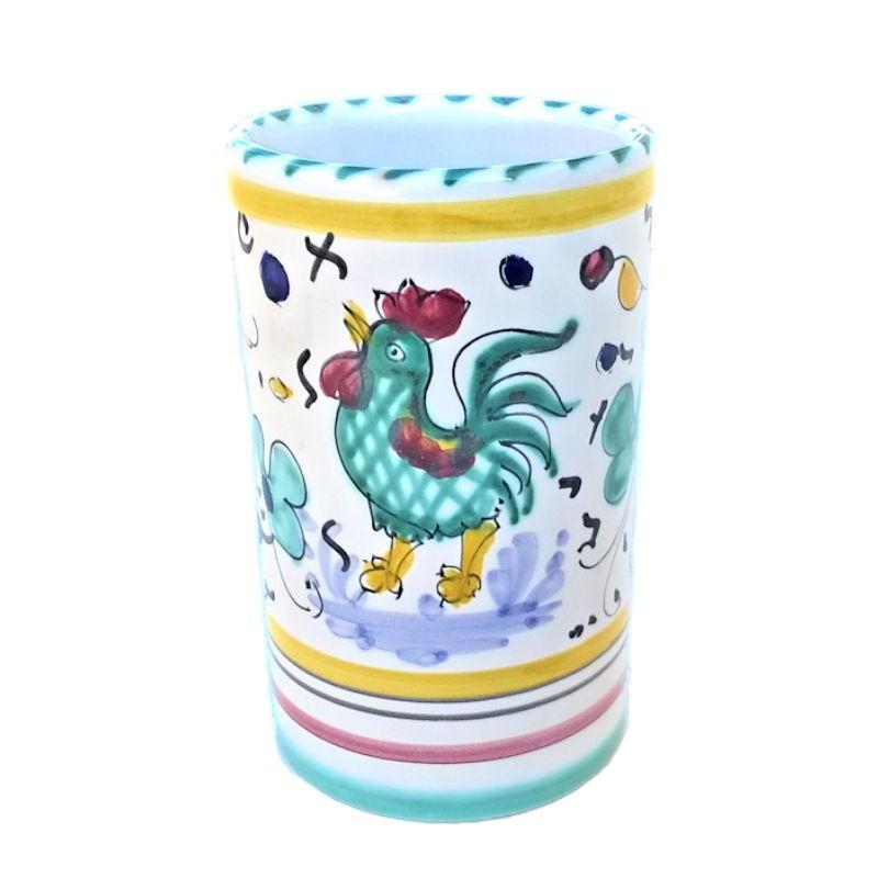 Portapenne ceramica maiolica Deruta dipinto a mano decoro gallo verde Orvietano