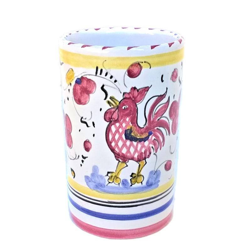 Portapenne ceramica maiolica Deruta dipinto a mano decoro gallo rosso Orvietano