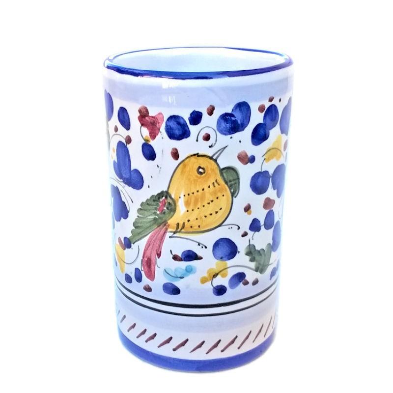 Portapenne ceramica maiolica Deruta dipinto a mano decoro Arabesco Colorato