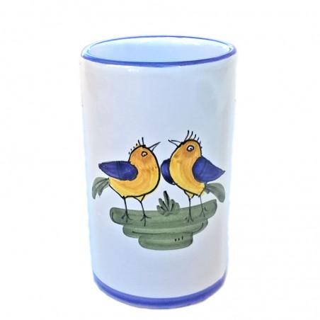 Portapenne ceramica maiolica Deruta dipinto a mano decoro uccellino