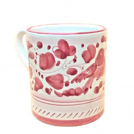 Bicchiere tazza ceramica maiolica Deruta dipinto a mano decoro Arabesco Rosso