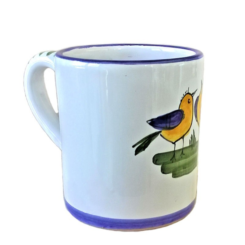 Bicchiere tazza ceramica maiolica Deruta dipinto a mano decoro Uccellino
