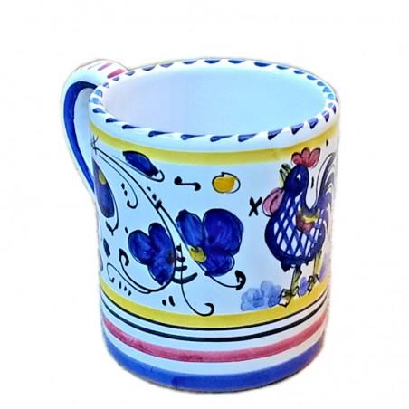 Bicchiere tazza ceramica maiolica Deruta dipinto a mano decoro Gallo Blu Orvietano