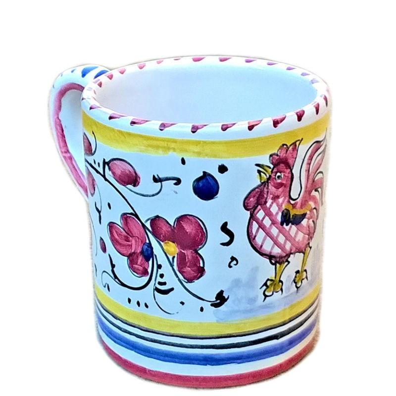 Bicchiere tazza ceramica maiolica Deruta dipinto a mano decoro Gallo Rosso Orvietano