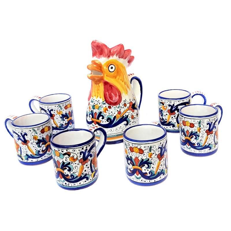 Brocca gallo con 6 bicchieri ceramica maiolica Deruta dipinto a mano decoro Ricco Deruta Blu
