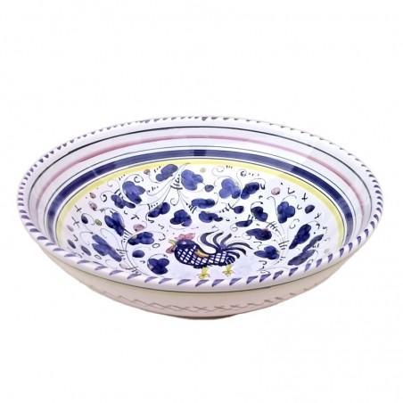 Bolo insalatiera ceramica maiolica Deruta dipinto a mano decoro Gallo Blu Orvietano