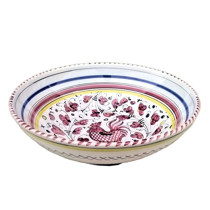 Bolo insalatiera ceramica maiolica Deruta dipinto a mano decoro Gallo Rosso Orvietano